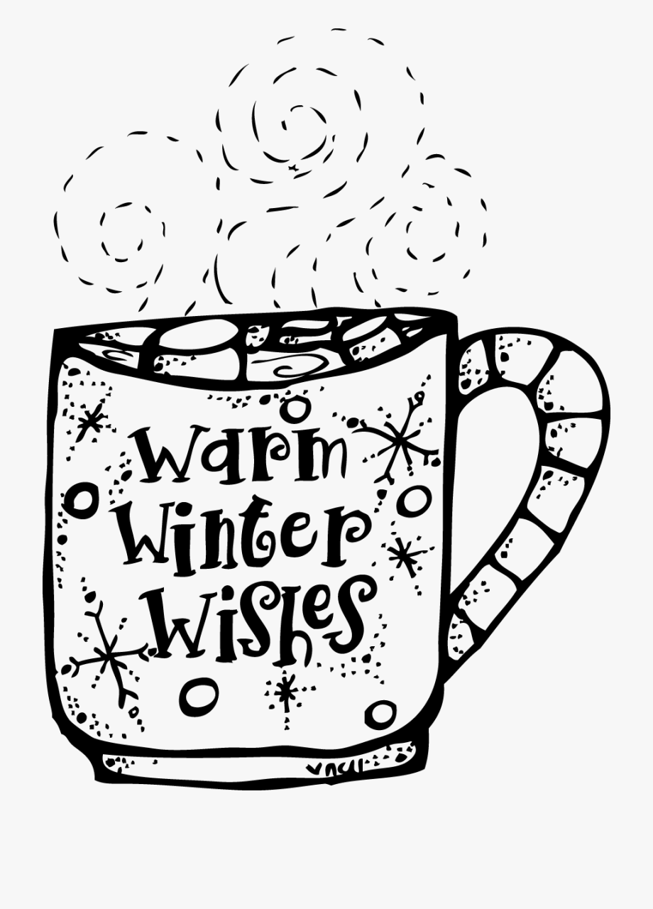 Png hot chocolate clipart black and white free download Clipart Winter December - Hot Chocolate Clip Art Black And ... free download