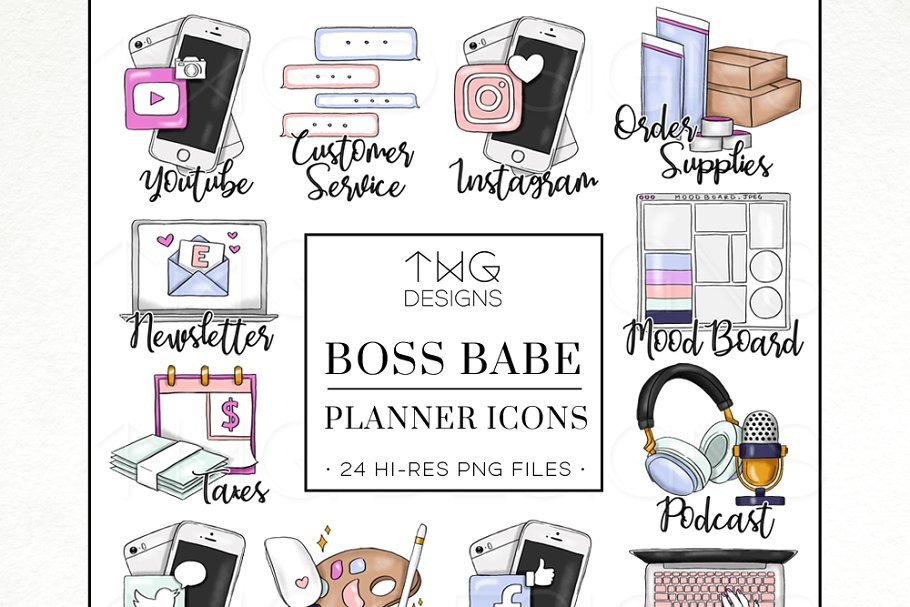 Pngs for commercial use jpg transparent download To Do Planner Task Icons Boss Babe jpg transparent download