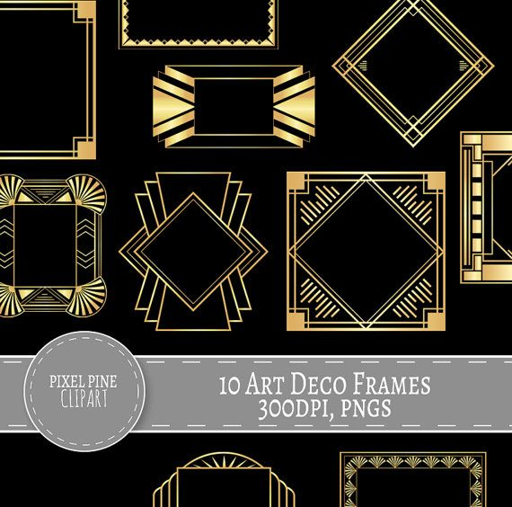 Pngs for commercial use clip freeuse library Art Deco Frames Black and Gold, 10 PNGs, Commercial Use ... clip freeuse library