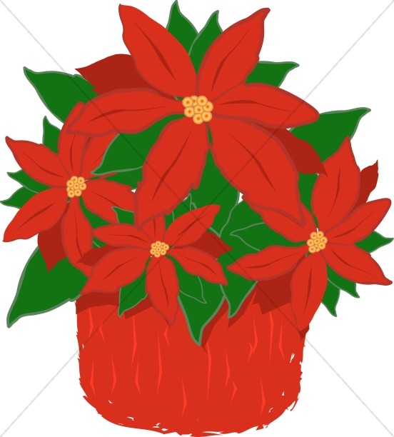 Poinsettia plant clipart png black and white download Red Poinsettia Plant | Religious Christmas Clipart png black and white download