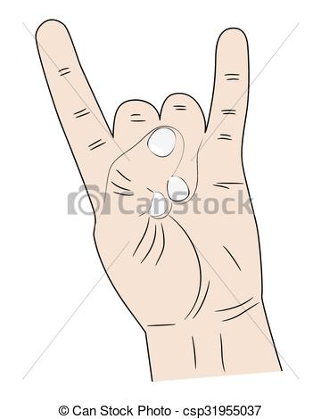 Pointer finger and pinky finger clipart images jpg black and white download Vectors of hand index finger and pinky fingers raised up - sign ... jpg black and white download