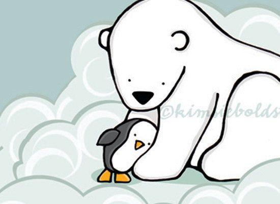 Polar bear and penguin clipart clipart freeuse Hug a Penguin Polar Bear Illustration Print by ... clipart freeuse
