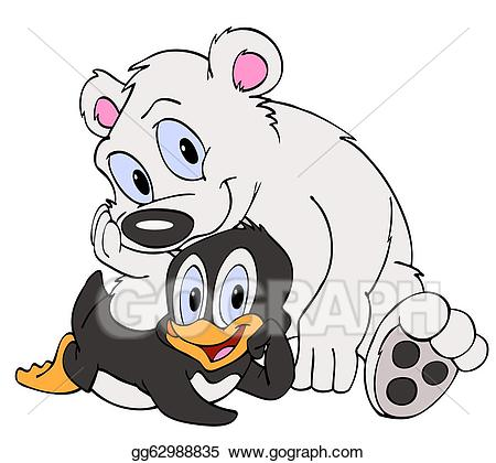 Polar bear and penguin clipart graphic transparent library Clipart - Penguin & polar bear friends. Stock Illustration ... graphic transparent library