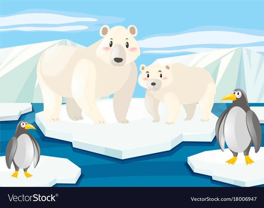 Polar bear on ice clipart banner black and white Polar bears and penguins on ice banner black and white