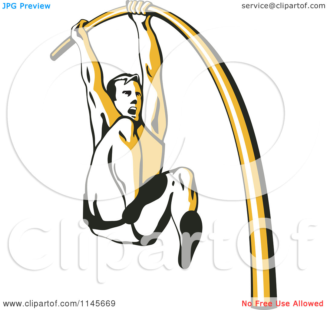 Pole vault clipart free png black and white download Clipart of a Retro Pole Vaulter - Royalty Free Vector Illustration ... png black and white download