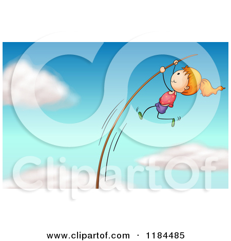 Pole vault girl clipart image royalty free stock Cartoon Of A Sporty Pole Vault Girl - Royalty Free Vector Clipart ... image royalty free stock