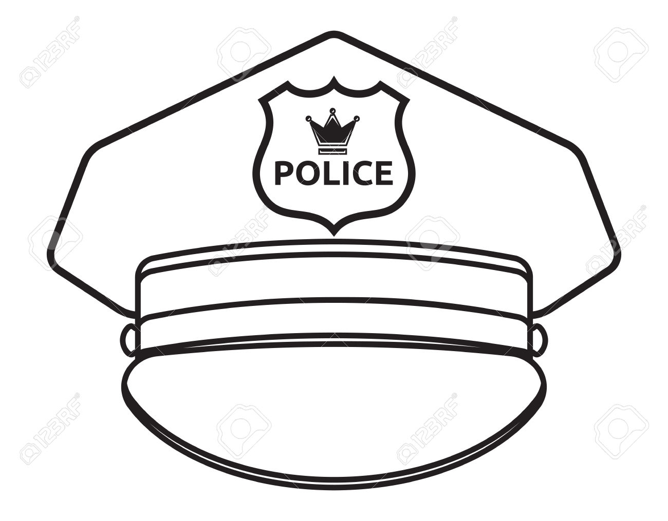 Police cap clipart banner royalty free stock Police hat clip art black and white - ClipartFest banner royalty free stock