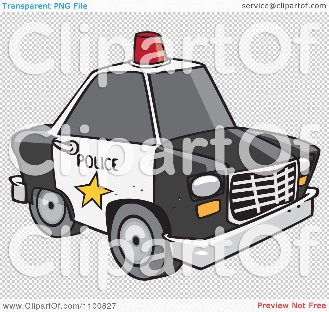 Police car cartoon clipart svg royalty free library Clipart Cartoon Police Car With A Siren Cone On The Roof - Royalty ... svg royalty free library