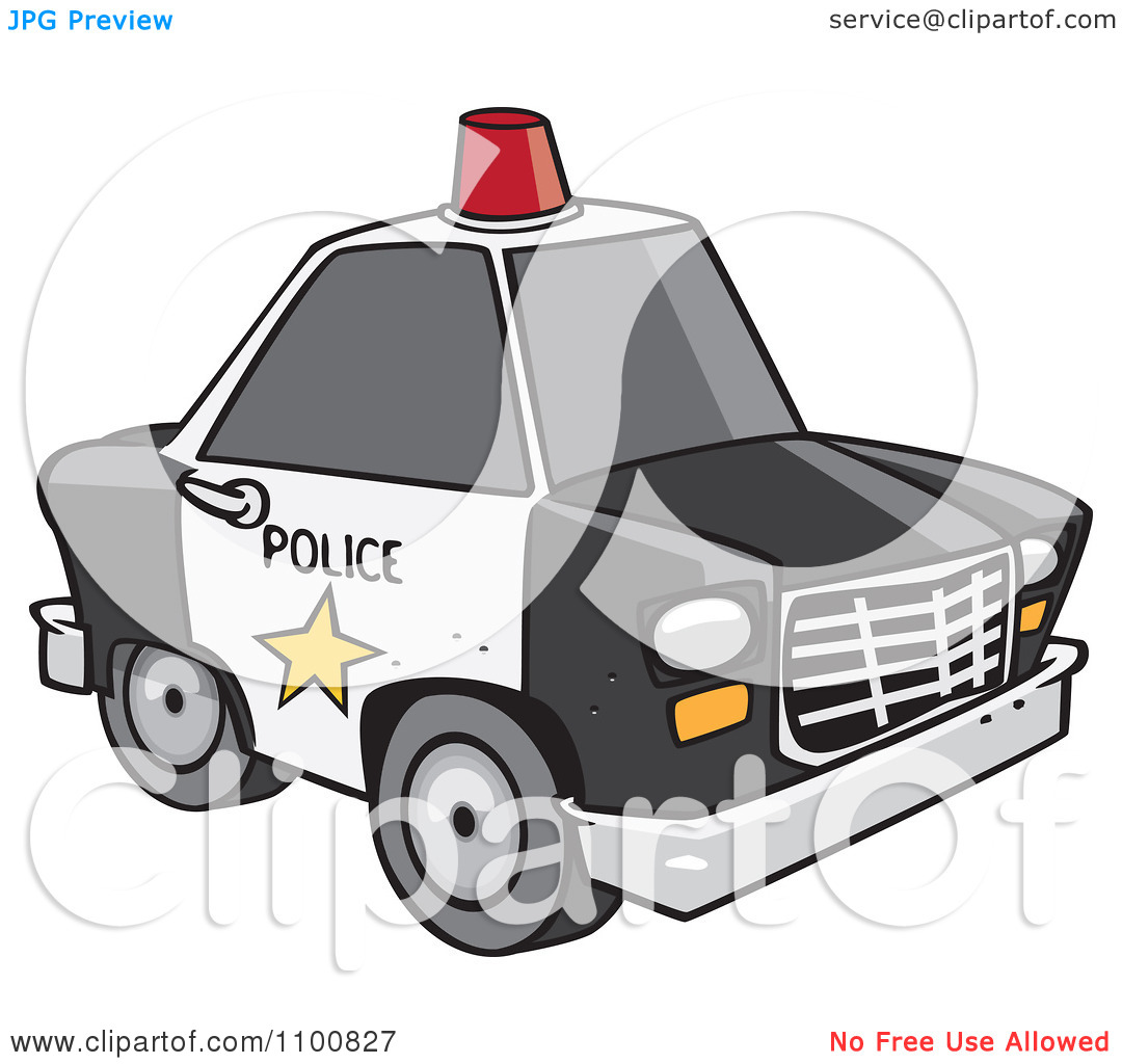 Police car cartoon clipart picture royalty free Clipart Cartoon Police Car With A Siren Cone On The Roof - Royalty ... picture royalty free