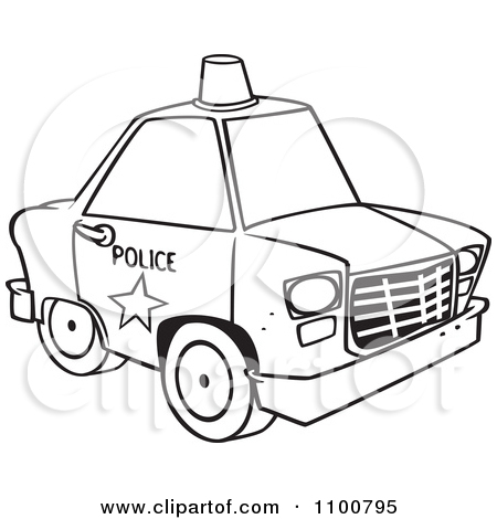 Police car cartoon clipart vector transparent download Clipart Cartoon Police Car With A Siren Cone On The Roof - Royalty ... vector transparent download