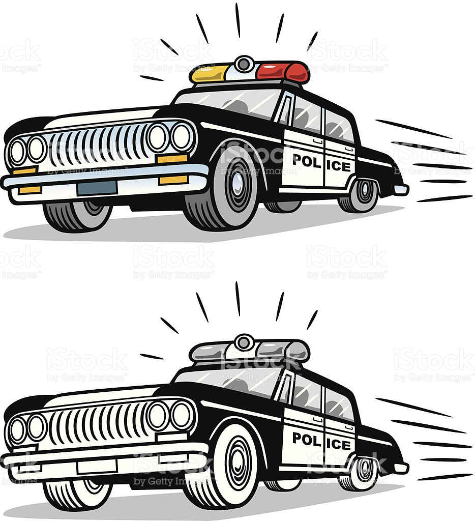 Police car chase clipart png library stock Vintage Police Car stock vector art 455613283   iStock png library stock