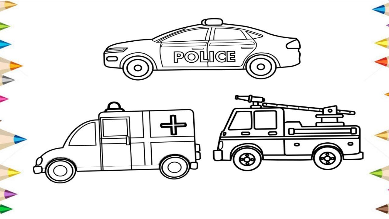 Police car fire truck and ambulance clipart png black and white stock How to Draw a Police Car, Fire truck, Ambulance … | How to ... png black and white stock