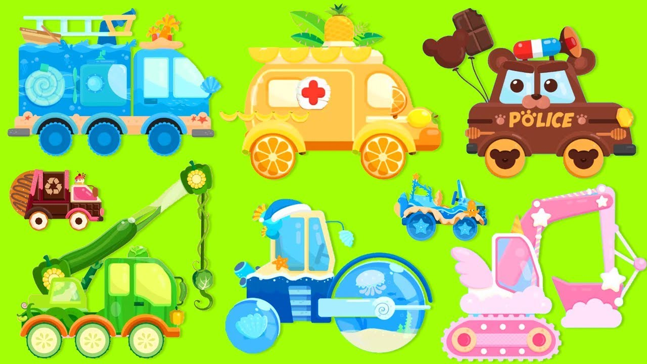 Police car fire truck and ambulance clipart graphic transparent Car Truck Kids | Fire Truck, Ambulance, Police Car, Steamroller, Excavator  | For Kids Cartoon graphic transparent
