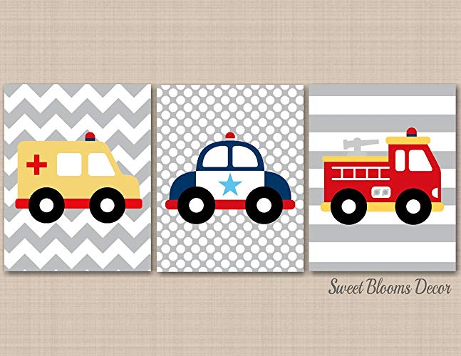 Police car fire truck and ambulance clipart image stock Amazon.com: Transportation Nursery Wall Art,Rescue Vehicles ... image stock