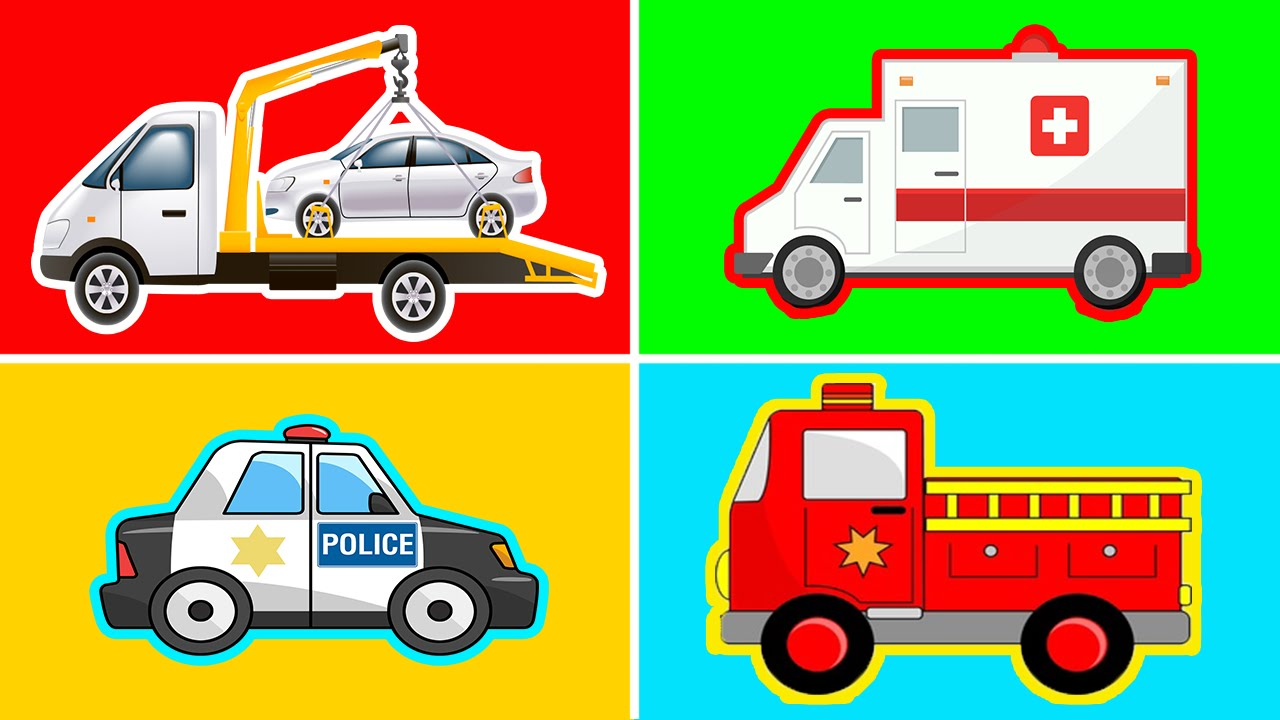 Police car fire truck and ambulance clipart graphic royalty free stock Learn Street Vehicles - Police Car Ambulance Fire truck Tow Truck Pickup  Truck - Learn Transport graphic royalty free stock