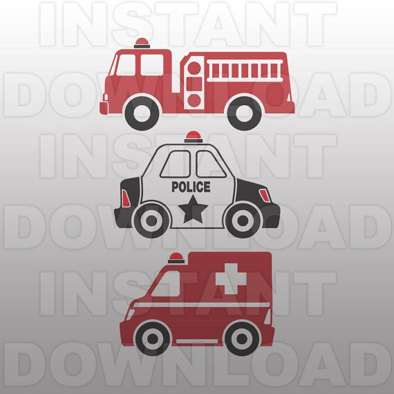 Police car fire truck and ambulance clipart clipart black and white stock Police Car SVG File,Ambulance SVG,Fire Engine SVG-Cutting ... clipart black and white stock