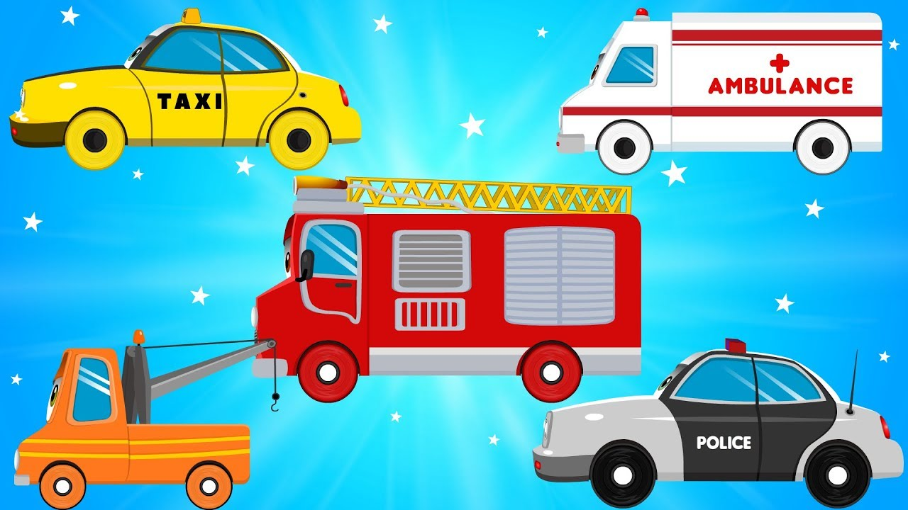 Police car fire truck and ambulance clipart clipart free Fire Truck Police Cars Emergency Vehicles & Ambulance in Car City Garage -  Songs & Rhymes for Kids clipart free