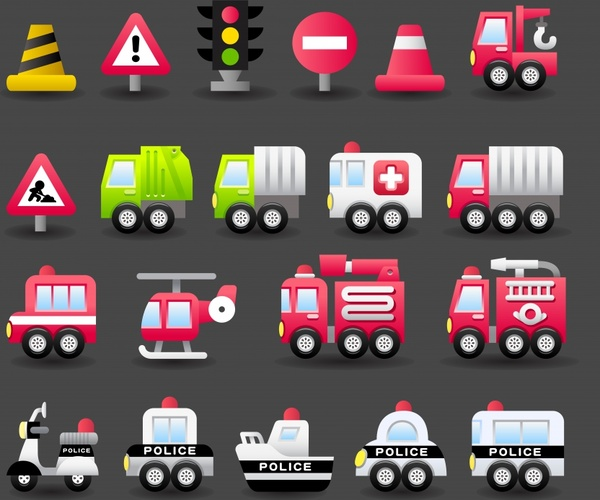 Police car fire truck and ambulance clipart graphic transparent library Ambulance police car fire truck transportation icons vector ... graphic transparent library