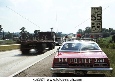 Police car radar clipart picture black and white library Stock Photo of 1970s police car with radar gun checking for ... picture black and white library