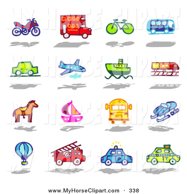 Police car snow clipart svg transparent library Art of a Digital Set of an Atv, Double Decker Bus, Bike, Bus, Car ... svg transparent library