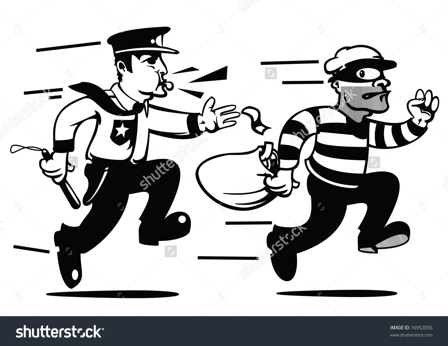 Police chase clipart jpg royalty free download Comicbook Style Cops Robbers Stock Vector 16952056 - Shutterstock jpg royalty free download