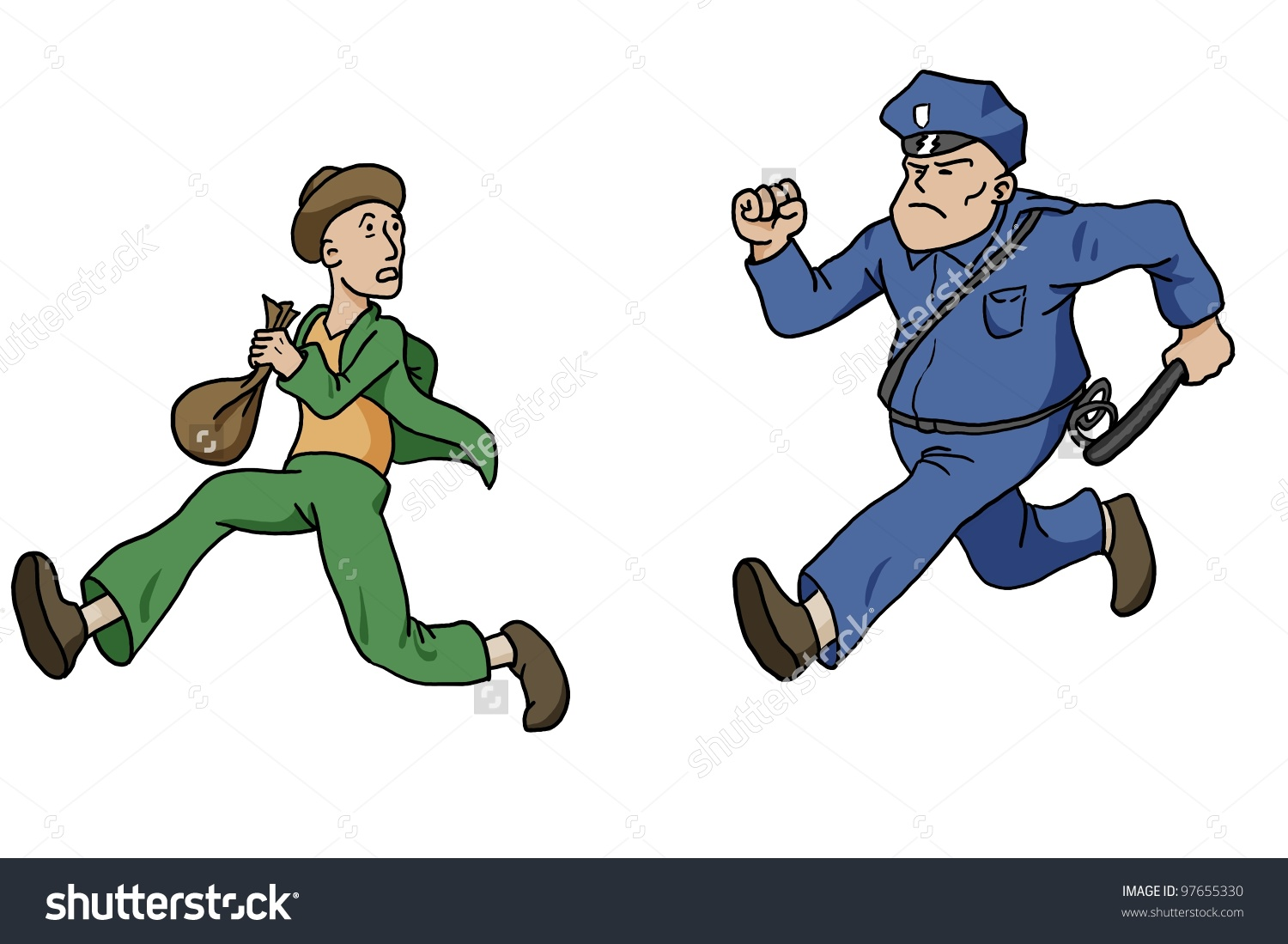 Police chase clipart clip art black and white Policeman Chasing Robber Stock Illustration 97655330 - Shutterstock clip art black and white