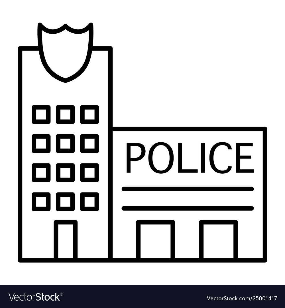 Police office clipart black and white royalty free Police office thin line icon police station vector image royalty free