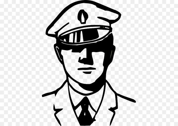 Police office clipart black and white