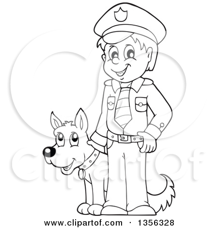 Police officer and dog clipart image transparent download Clipart of a Cartoon White Male Police Officer with a Dog in a ... image transparent download
