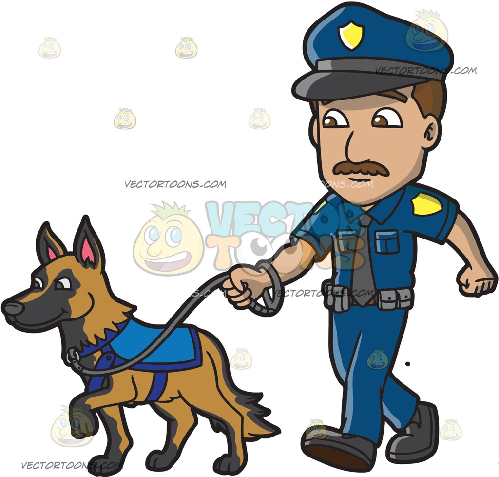 Police officer and dog clipart image stock A Police Officer Walking His Dog Cartoon Clipart image stock