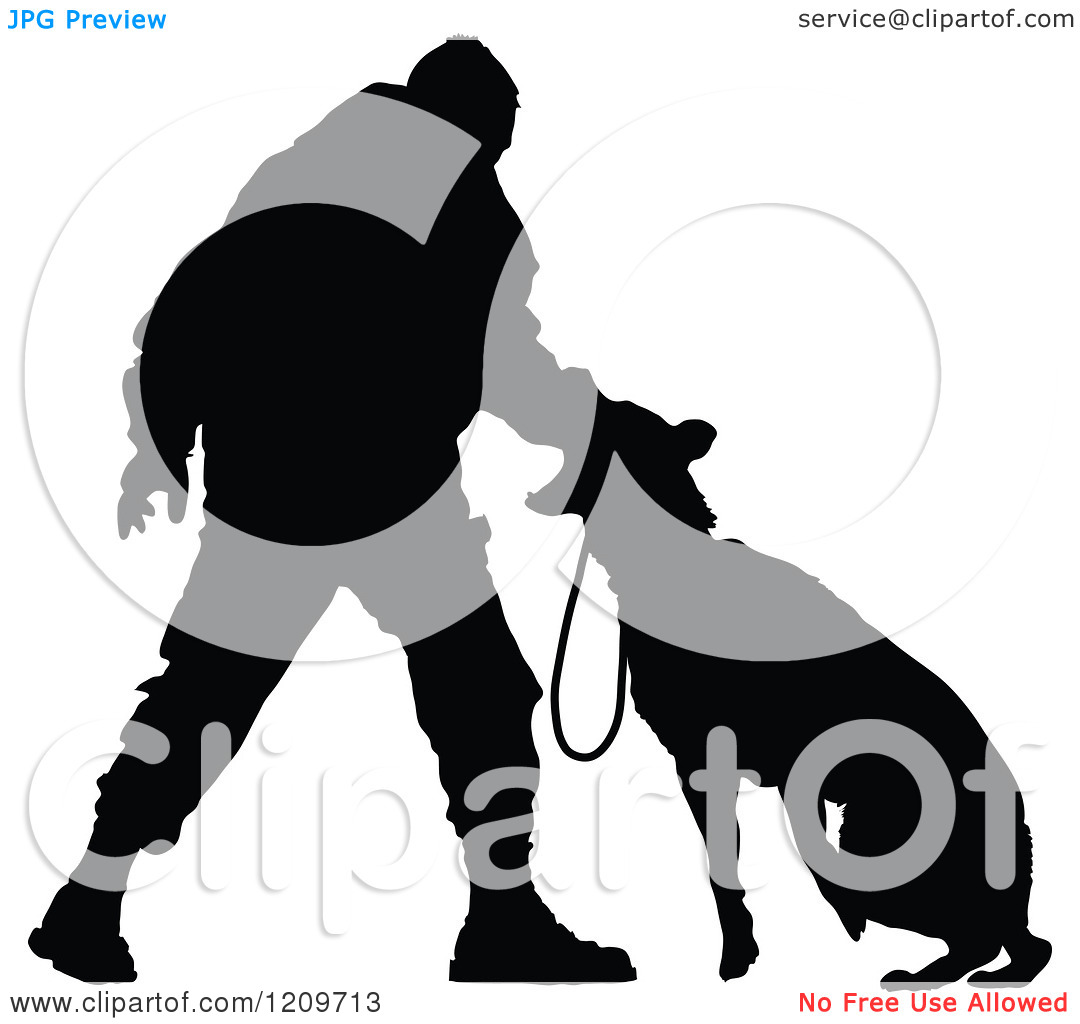 Police officer and dog clipart clip freeuse library Clipart of a Black Silhouetted Police Officer Training with His K9 ... clip freeuse library