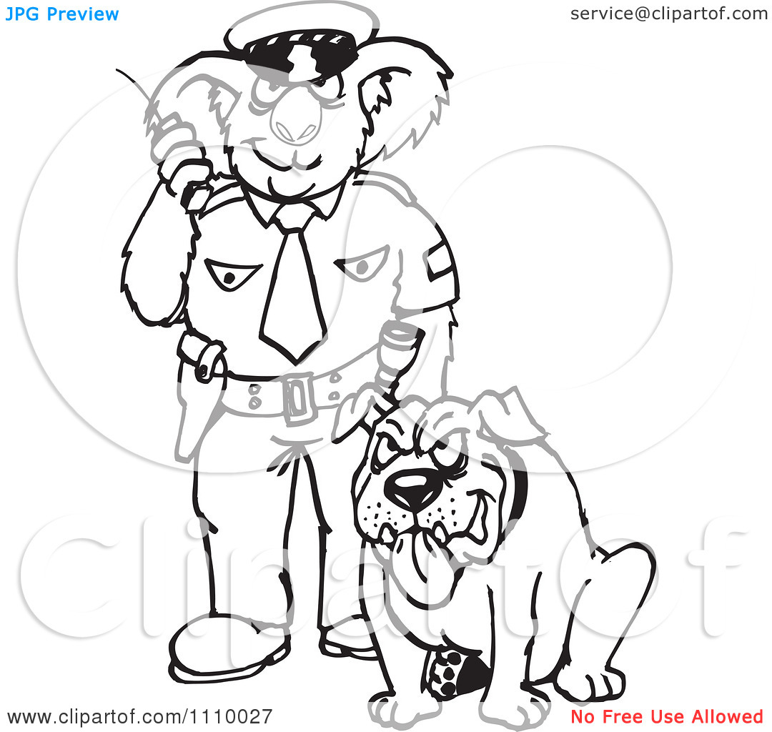 Police officer and dog clipart png freeuse download Clipart Black And White Aussie Koala Police Officer With A Dog ... png freeuse download