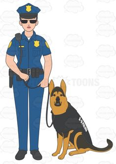 Police officer and dog clipart banner free Female Police Officer Standing In A Fighting Stance | Pigs, Police ... banner free