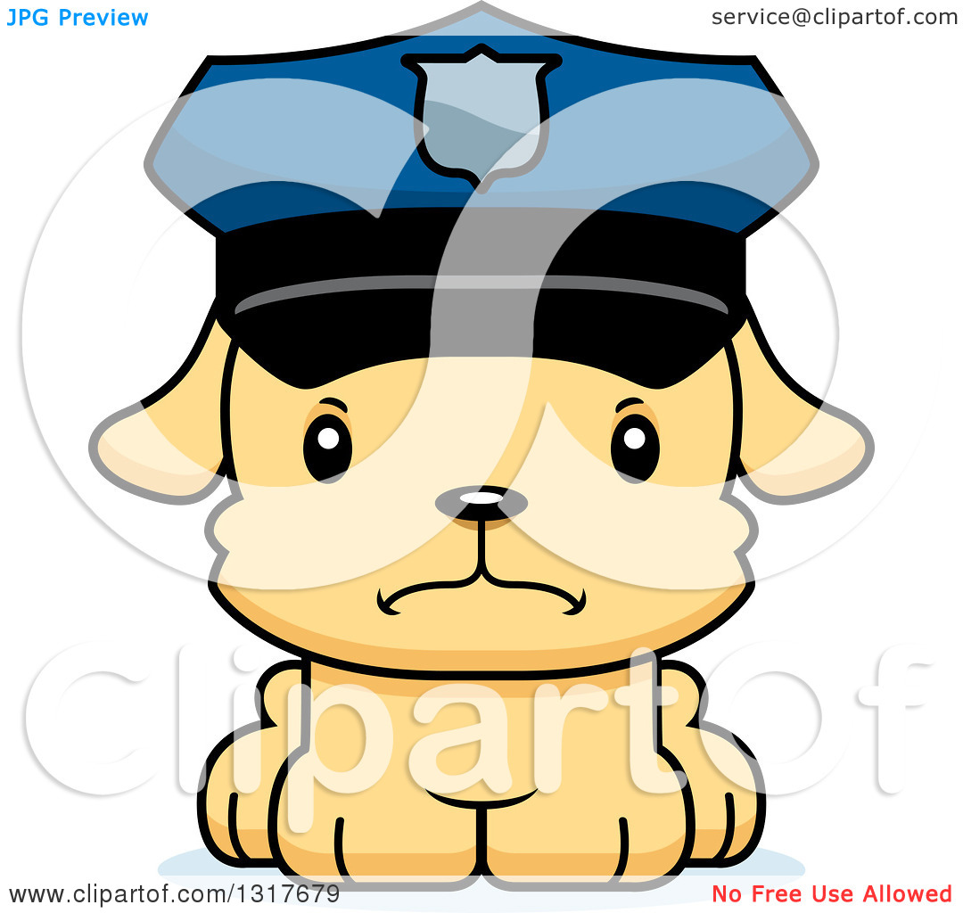 Police officer and dog clipart graphic freeuse download Animal Clipart of a Cartoon Cute Mad Puppy Dog Police Officer ... graphic freeuse download