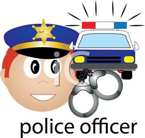 Police officer car clipart stock Police Officer with a Police Car and Handcuffs Clipart Picture stock
