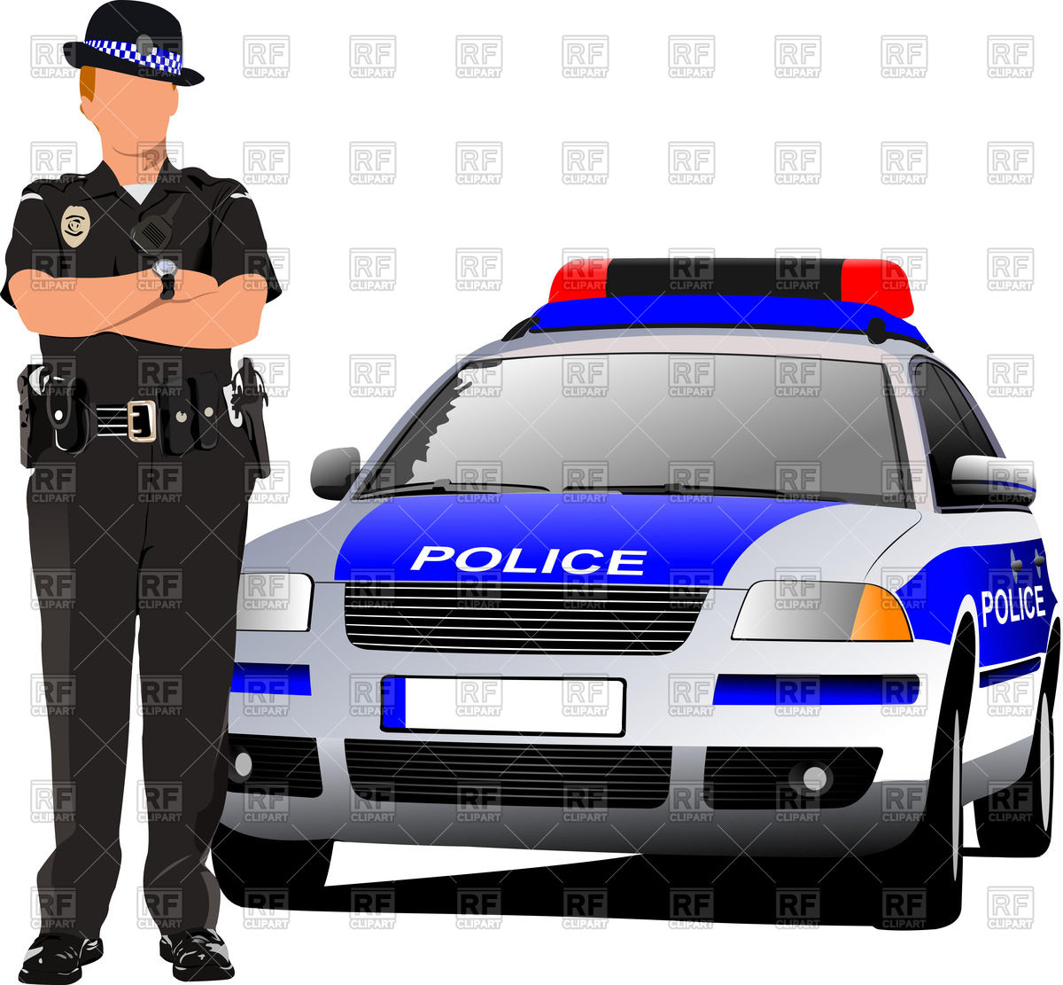 Police officer car clipart clip black and white library Policeman in form and police car - front view Vector Image #56832 ... clip black and white library