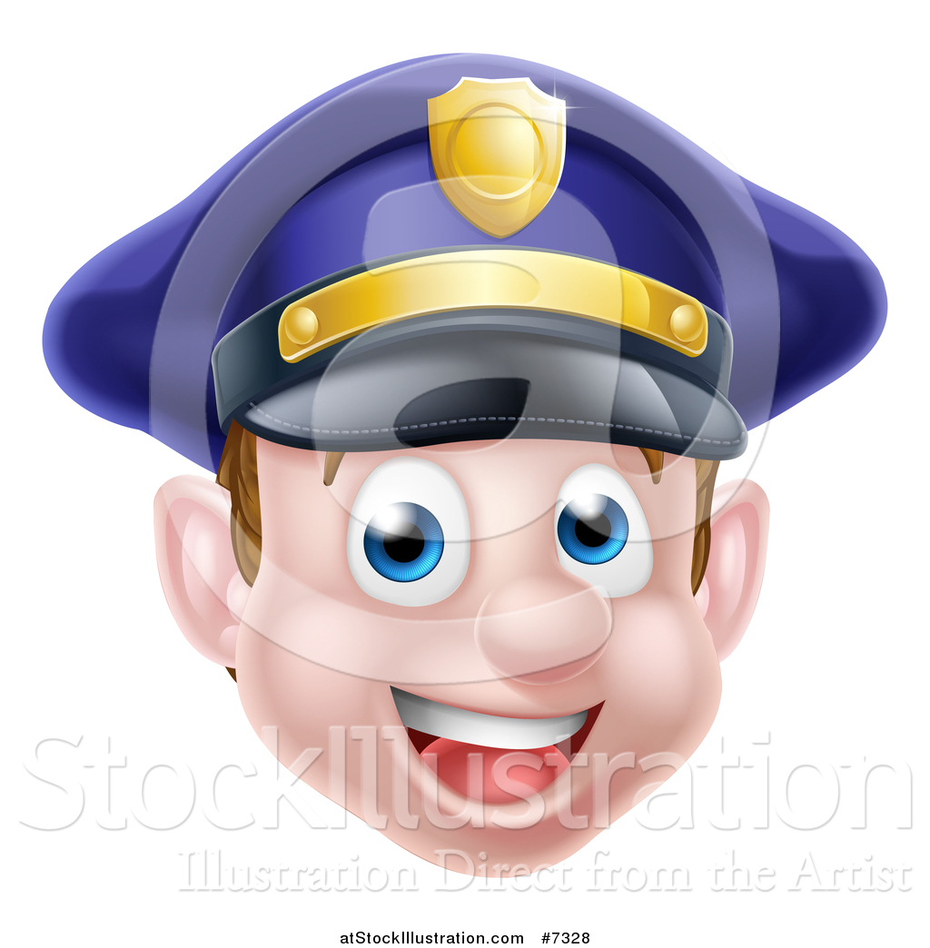 Police officer face clipart clipart black and white Vector Illustration of a Happy Caucasian Male Police Officer Face ... clipart black and white