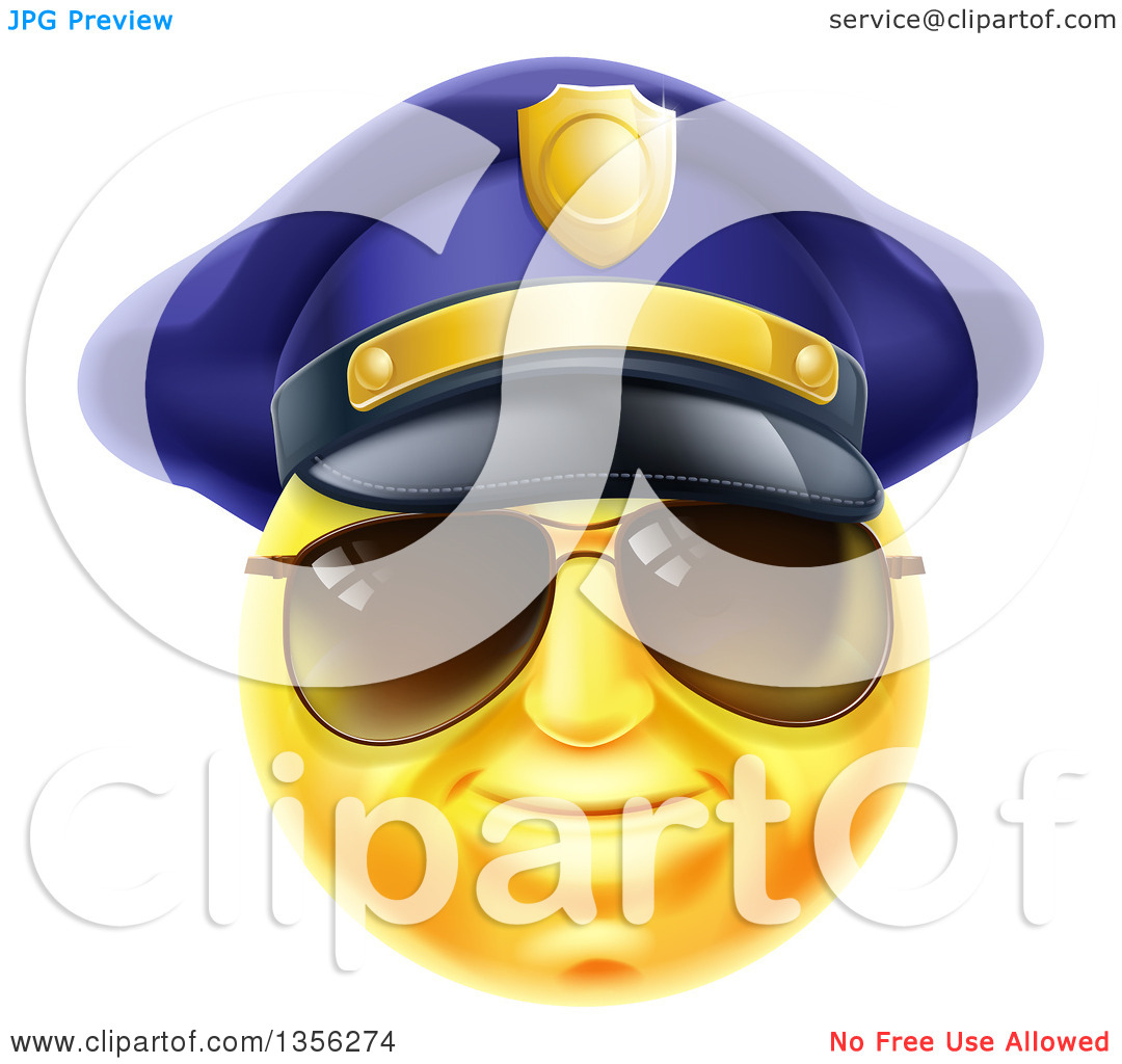 Police officer face clipart image free library Clipart of a 3d Yellow Male Smiley Emoji Emoticon Face Police ... image free library