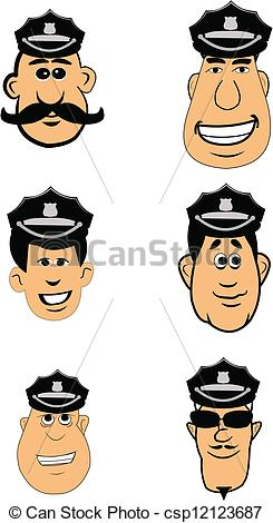 Police officer face clipart vector library library Vector of police officer faces with hats - various police officer ... vector library library