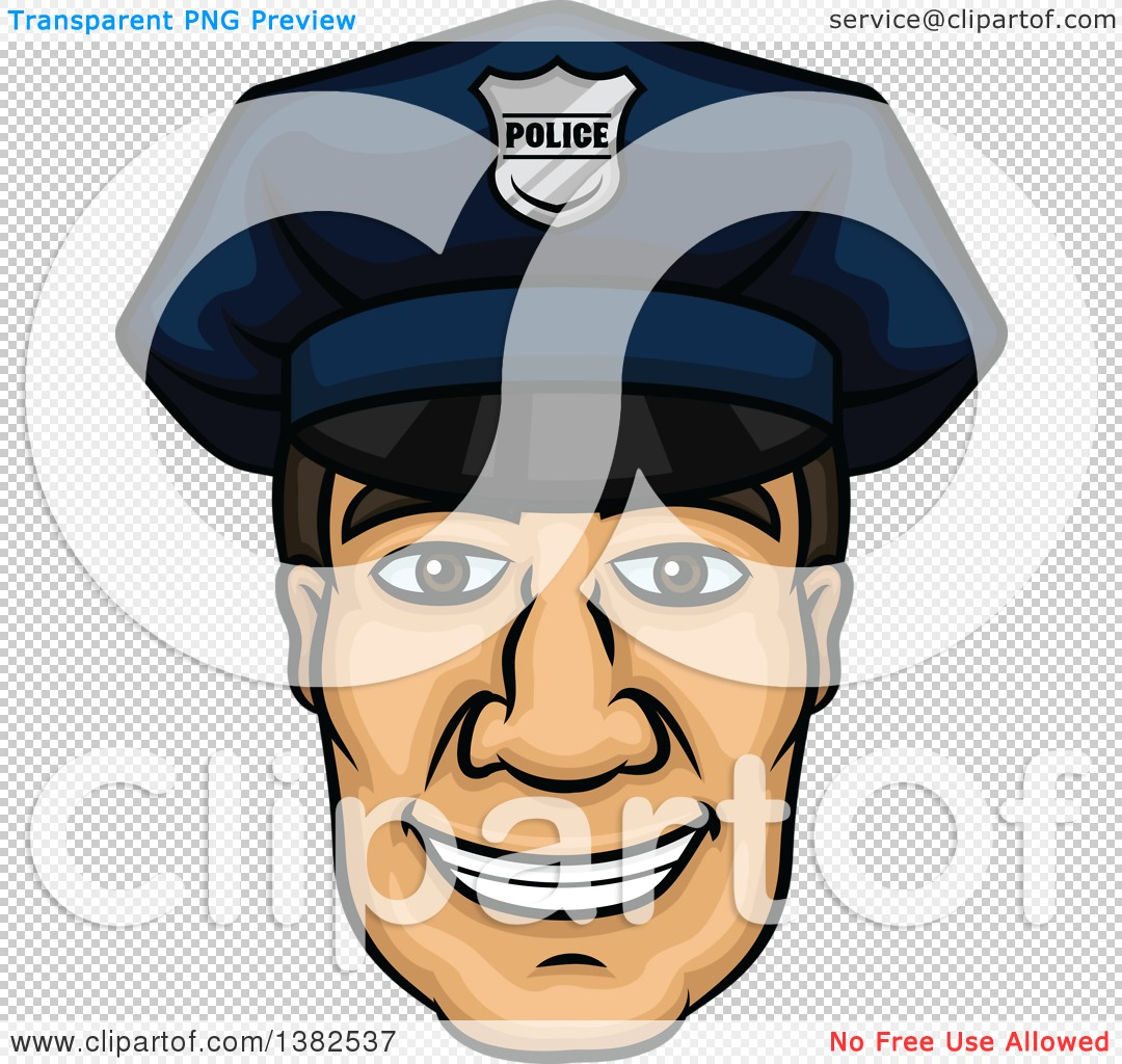 Police officer face clipart jpg free library Clipart of a Cartoon Male Caucasian Police Officer Face - Royalty ... jpg free library