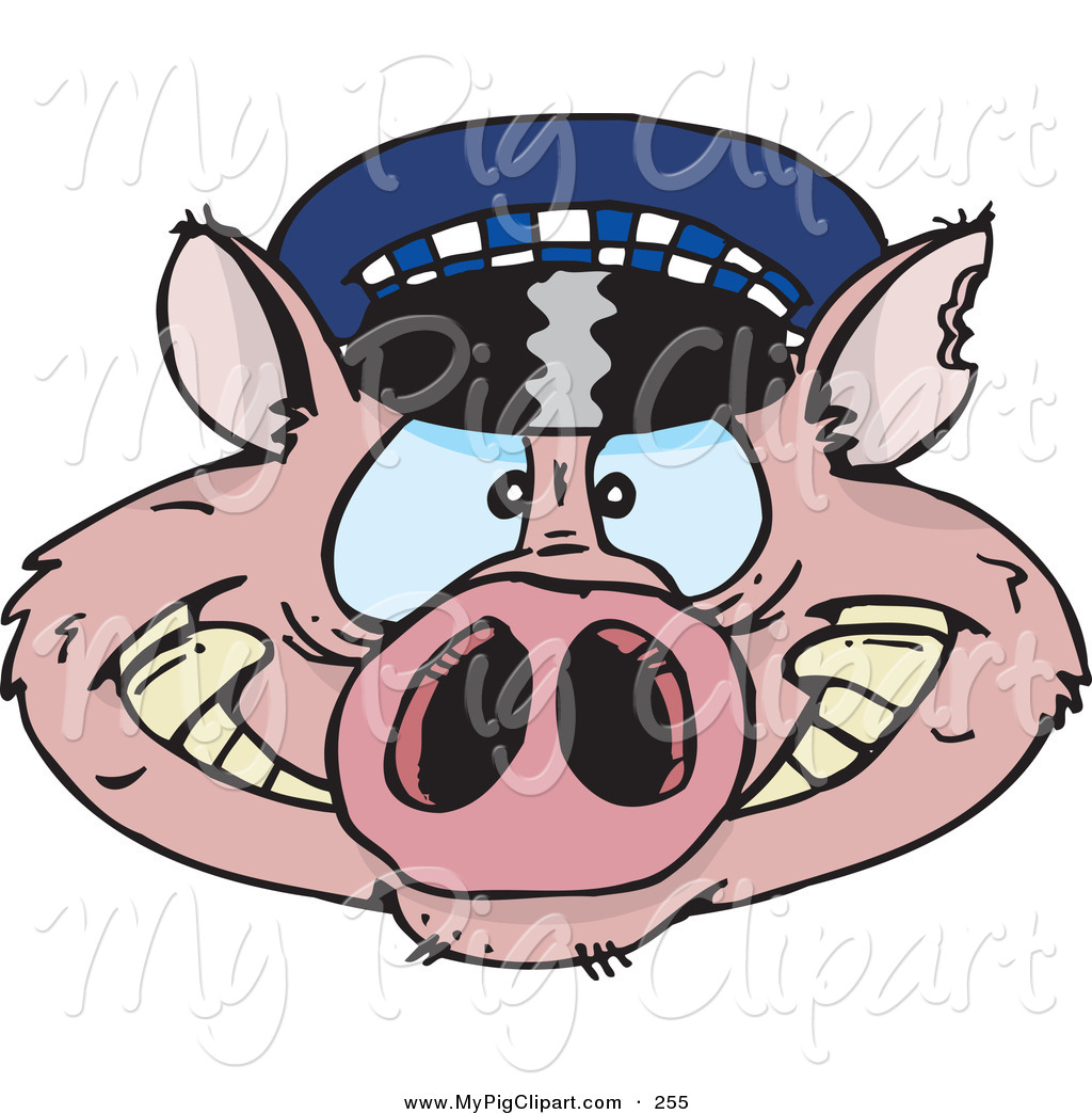 Police officer face clipart clip royalty free download Swine Clipart of a Pink Police Cop Pig Face by Dennis Holmes ... clip royalty free download