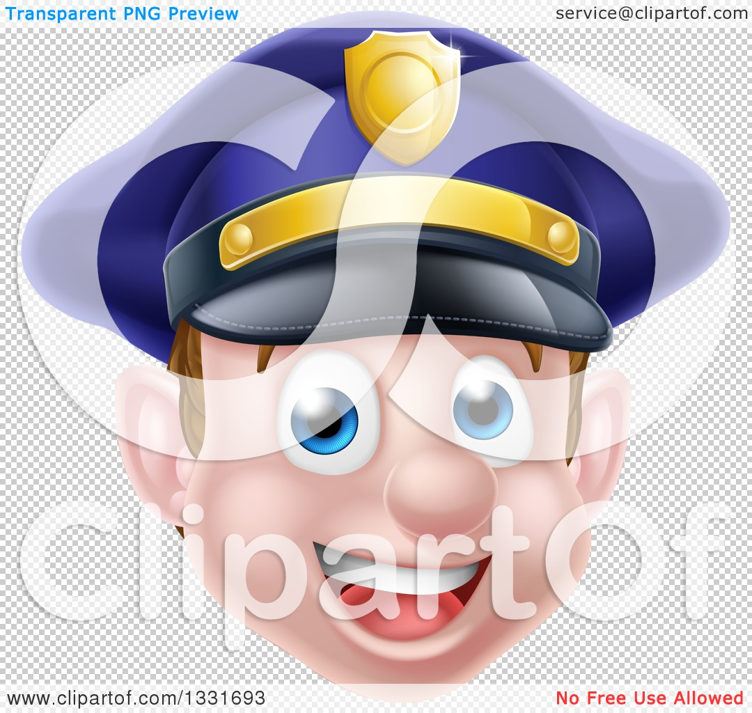 Police officer face clipart clip download Clipart of a Happy Caucasian Male Police Officer Face - Royalty ... clip download