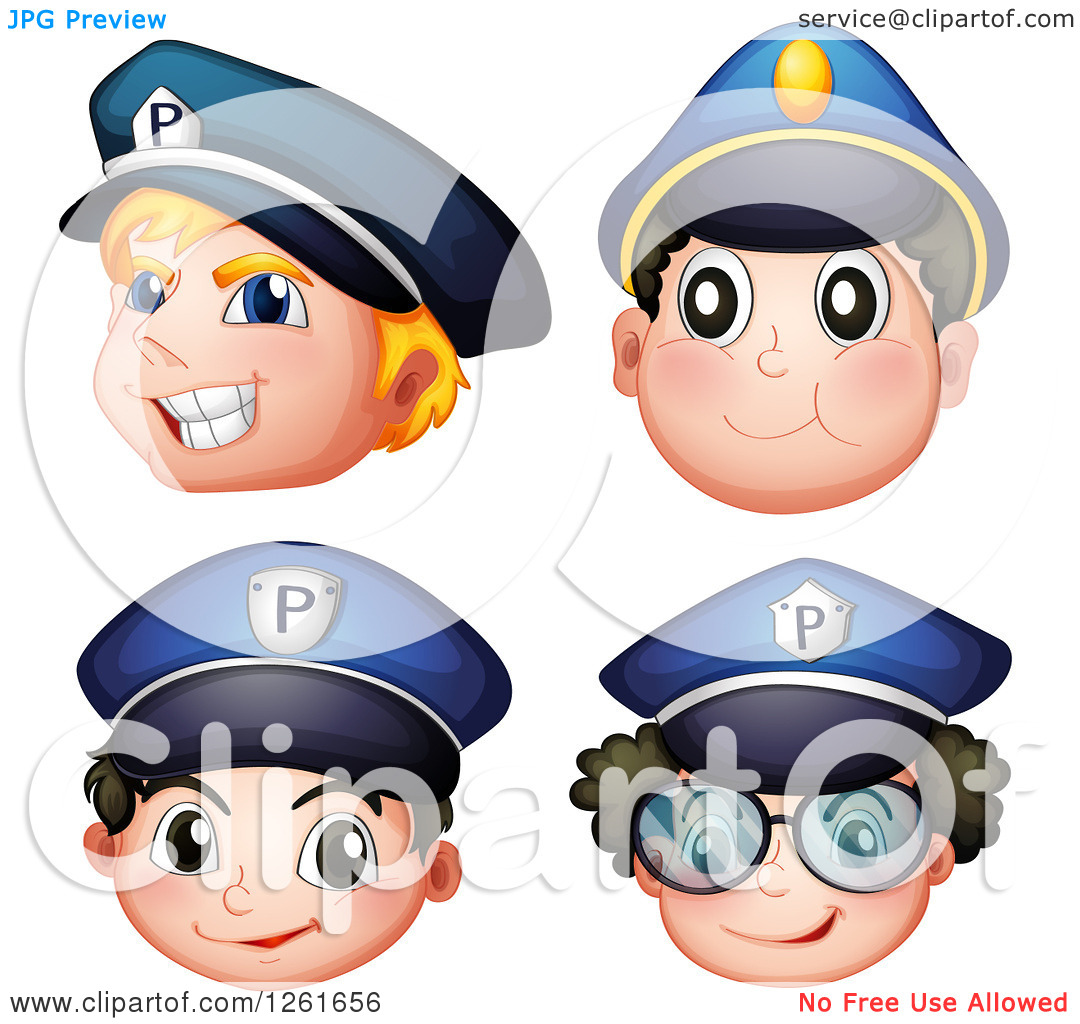 Police officer face clipart transparent Clipart of Male Police Officer Faces - Royalty Free Vector ... transparent