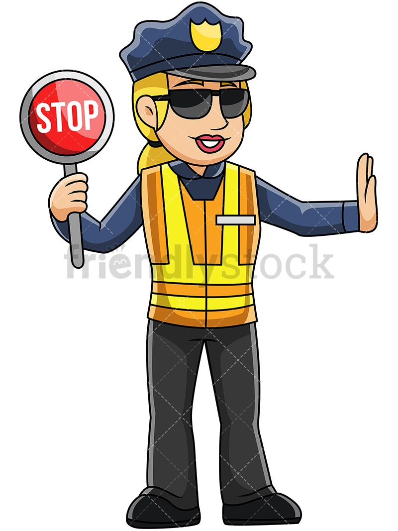 Police officer with hands clipart arrests somone with red face picture library library Female Police Officer Holding Stop Sign | do pracy | Female ... picture library library