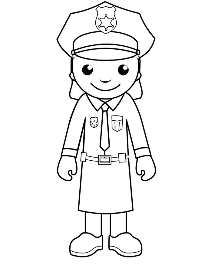 Police officer with kids clipart black and white clip art transparent library Free Printable Police Women Coloring Pages | Kids Coloring ... clip art transparent library