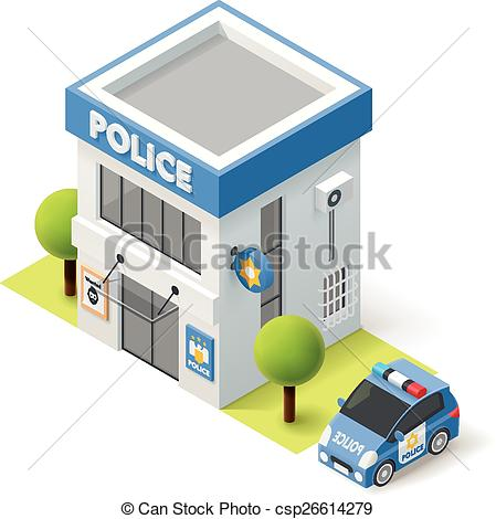 Police station building clipart freeuse stock Vectors Illustration of Vector isometric police department ... freeuse stock