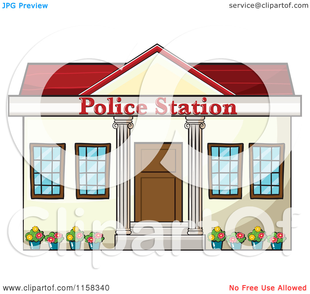 Police station building clipart clipart transparent stock Clipart of a Police Station Building Facade - Royalty Free Vector ... clipart transparent stock