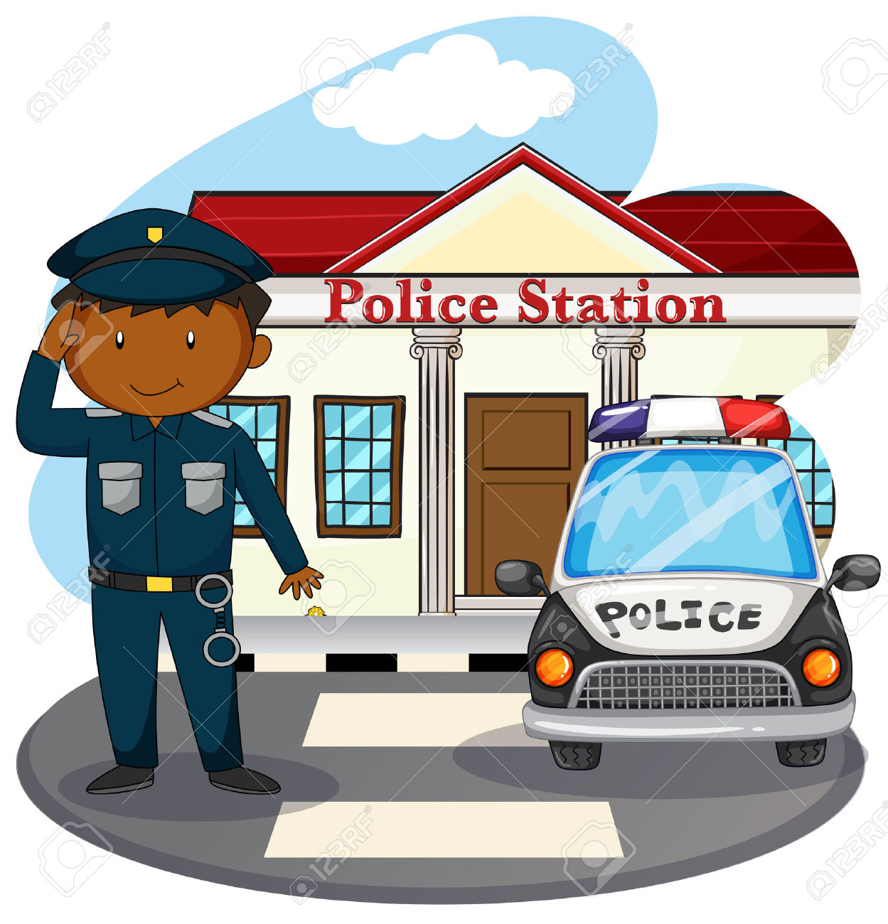 Police station building clipart clipart freeuse library Policeman Saluting In Front Of Police Station Illustration Royalty ... clipart freeuse library