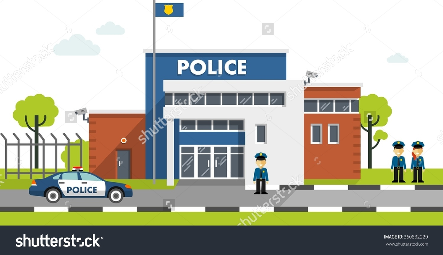 Police station with police car clipart graphic City Police Station Department Building Landscape Stock Vector ... graphic