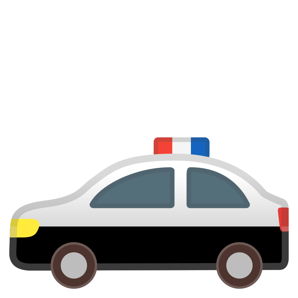 Police station with police car clipart graphic black and white download Police car Icon | Noto Emoji Travel & Places Iconset | Google graphic black and white download